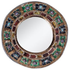 Colorful Ceramic and Glass Mirror by Guerin