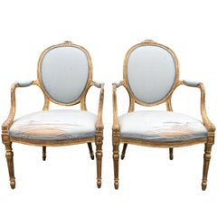 19th Century Pair of Hepplewhite Open Armchairs