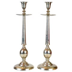 Pair of Large Altar Candleholders, Brass, Nickel-Plated, circa 1910-1920