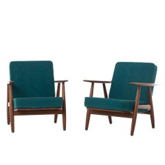 Danish Modern Cigar Lounge Chairs by Hans J Wegner
