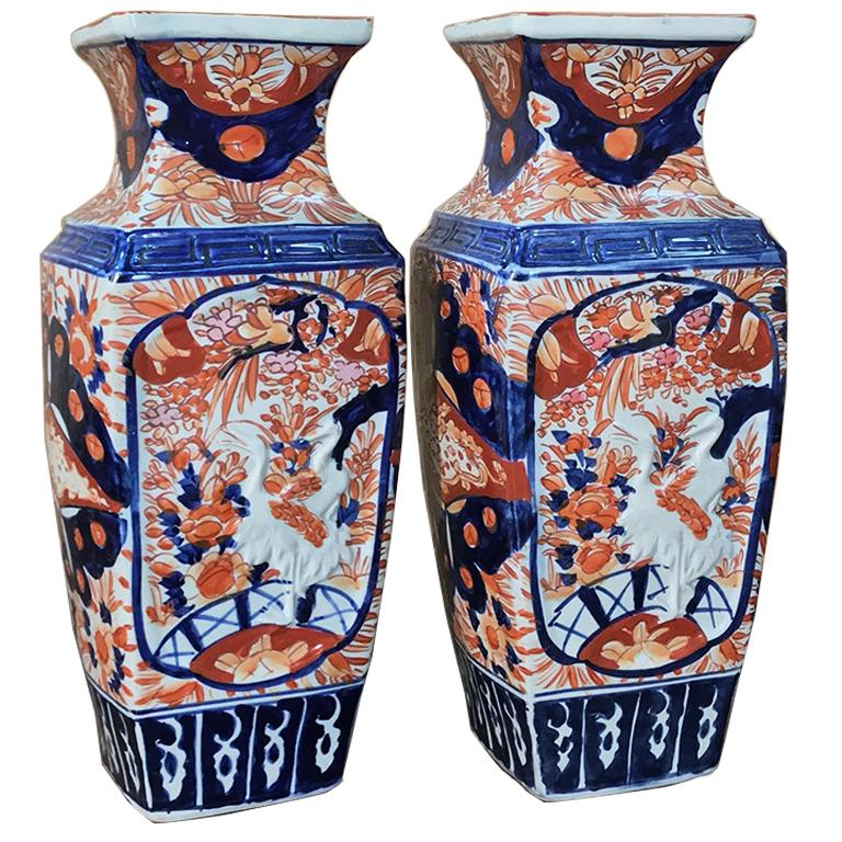 Pair of Meiji Period Japanese Imari Porcelain Vases