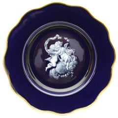 Old Meissen Porcelain Plate in Cobalt Blue and Limoges Painting with Gold Edge