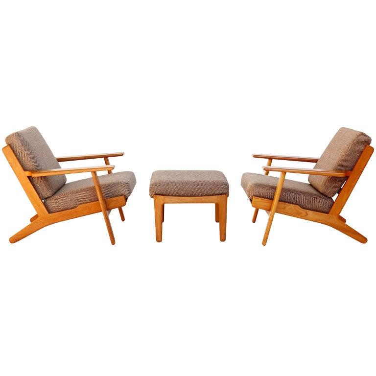 Pair of Hans Wegner Lounge Chairs Ottoman GE290 GETAMA, Teak, Denmark, 1953