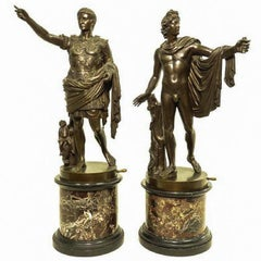 Pair of Italian Neoclassical Grand Tour Bronze Figures on Marble Bases