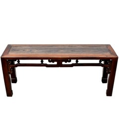 Antique Chinese Spring Bench, Solid Wood, Pagoda Motif