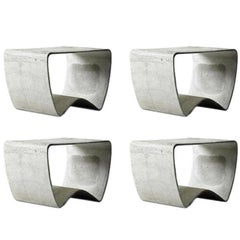 Set of 4 Concrete Stools by Ludwig Walser for Eternit