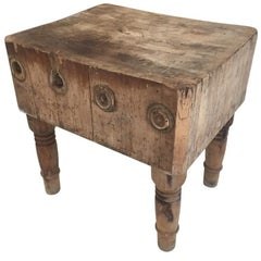 Rustic Early 20th Century American Antique Butcher Chopping Block Table