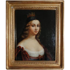 18th Century Portrait of a Young Princess Oil on Panel