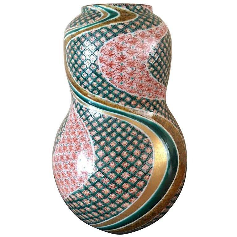 Large Contemporary Green Red Kutani Porcelain Vase by Japanese Master Artist