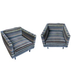 Pair of 1960s Milo Baughman Club Chairs in Paul Smith Fabric