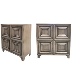 Handsome Pair of American Midcentury Solid Gray-Cerused Oak Dressing Cabinets