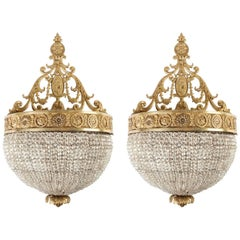Gilded Sconces with Cut Crystal Beaded Bodies