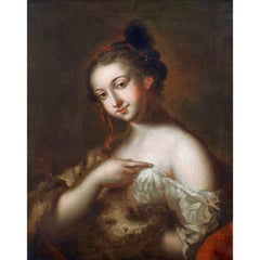 Ritratto, French School 18th Century Oil on Canvas Portrait Painting