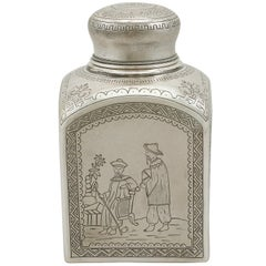 1890s Antique Russian Silver Tea Caddy
