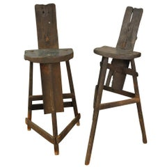 Very Rare Pair of Coultoulier, Knife Maker's Chairs