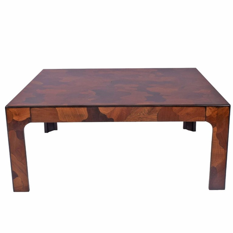 1970s American Burl Patchwork Coffee Table For Sale