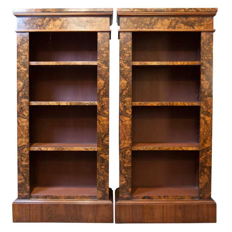 19th Century Style American Walnut and Burr Walnut Open Bookcases