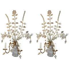 Large Sconces with Rock Crystal