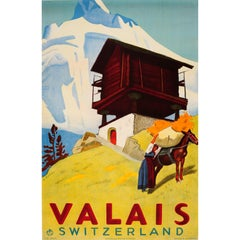 Original Vintage Valais Switzerland Travel Poster Ft. Countryside Mountain View