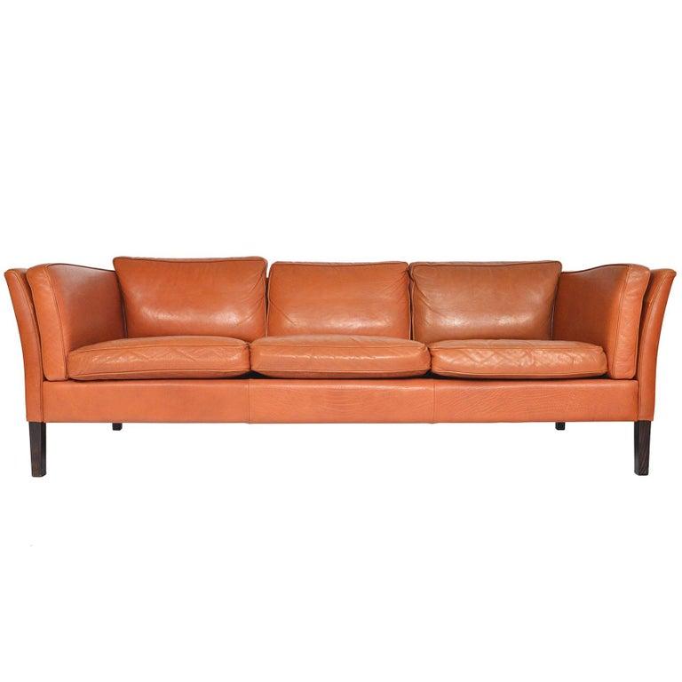 Danish Mid-Century Modern Three-Seat Leather Sofa in Cognac