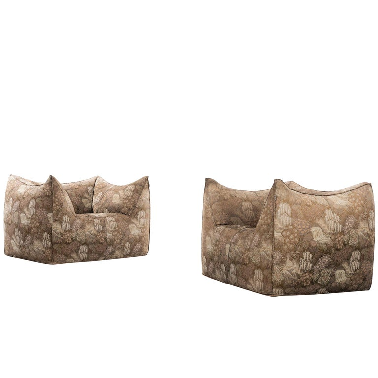 Mario Bellini Pair of Floral Lounge Chairs and Ottomans