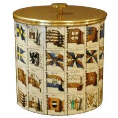 Piero Fornasetti Ice Box in Silk-Screened Metal and Brass