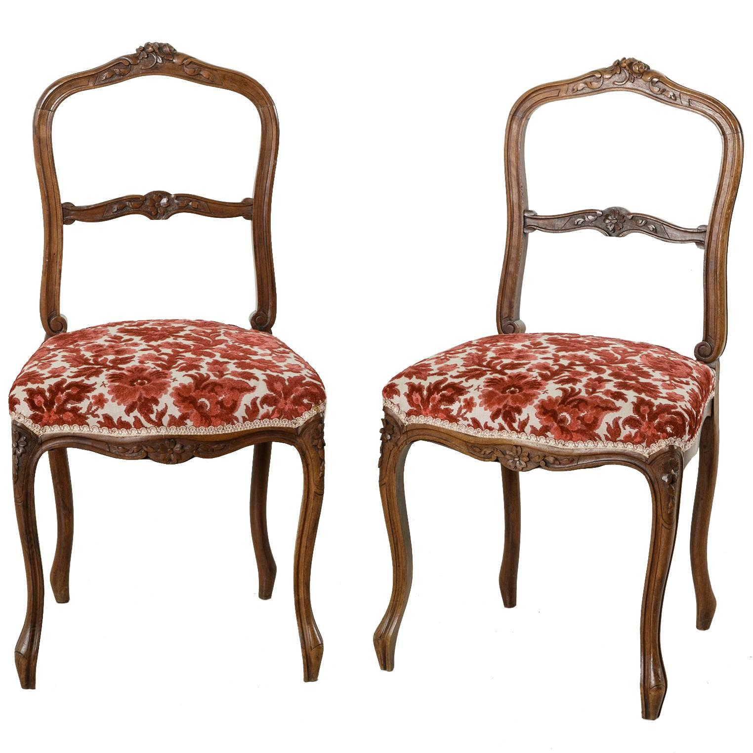 Pair Of Hand Carved Walnut Louis XV Style Opera Chairs, Side Chairs, Circa