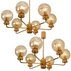 Set of Large Gold-Plated Brown Glass Chandelier in the Style of Brotto, Italy