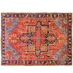 Early 20th Century Red, Blue Persian Heriz Carpet