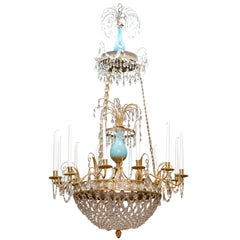 Baltic Empire Turquoise Glass Gilt Bronze Chandelier