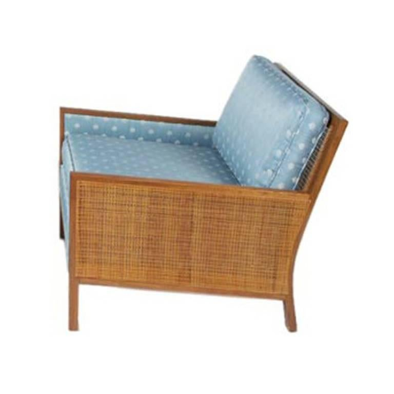 Single Milo Baughman 1950s Cane Panel Club Chair