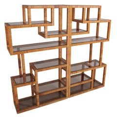 Vivai del Sud Rattan and Smoked Glass pair of shelve units