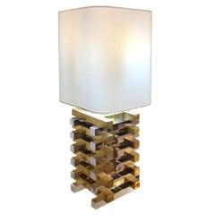 Italian Metal Brass and Steel Geometric White Lampshade Table Lamp, 1970s