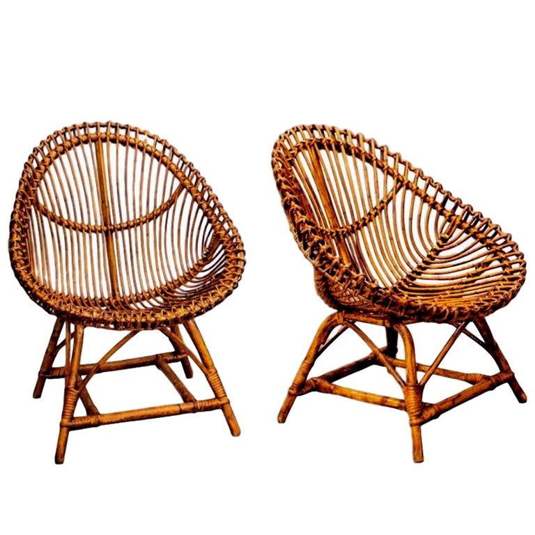 Pair of Sculptural Rattan and Bamboo Chairs by Bonacina