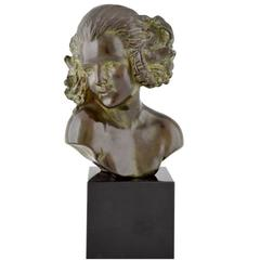 French Art Deco bronze sculpture bust Female Satyr Maxime Real Del Sarte, 1930
