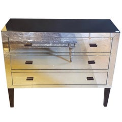 Hollywood Regency Custom Quality Mirrored Commode or Nightstand
