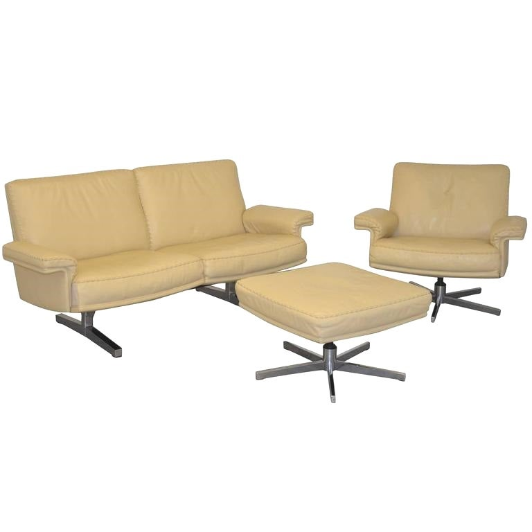 Vintage De Sede DS 35 Two-Seat Loveseat and Swivel Armchair and Ottoman, 1970s