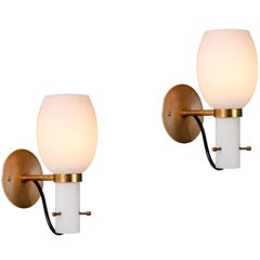 Pair of 1950s Italian Brass and Glass Sconces Attributed to Stilnovo