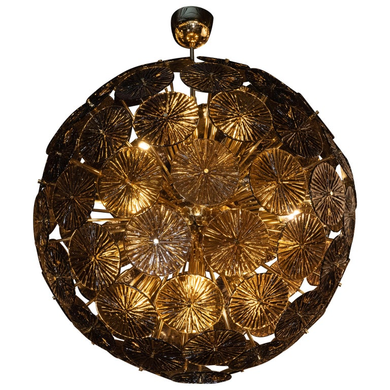 Modernist Handblown Murano Smoked Bronze Glass and Polished Brass Sputnik