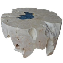 Andrianna Shamaris Round Bleached Teak Wood Organic Coffee Table