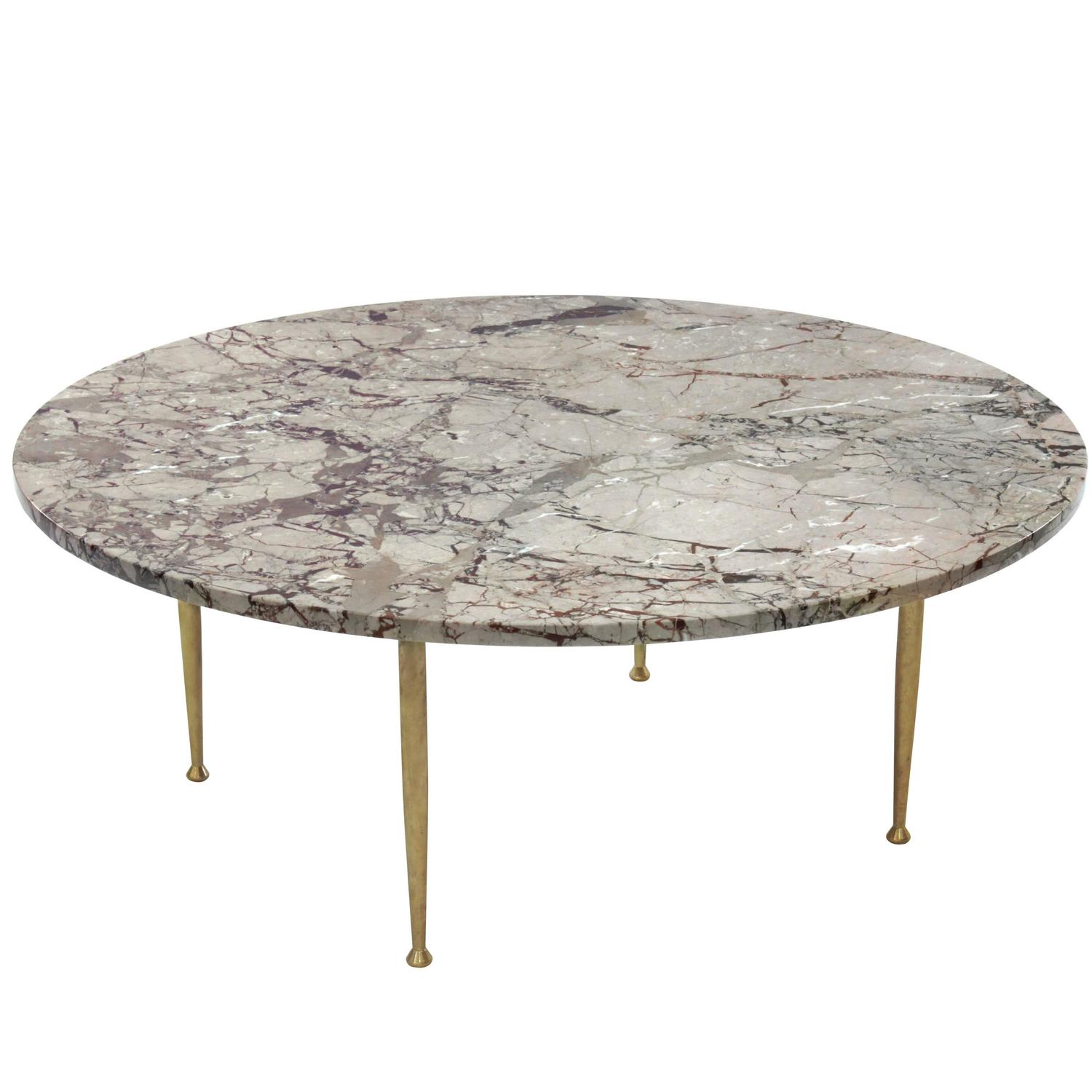 - Elegant Coffee Table In Marble With Brass Legs For Sale At 1stdibs