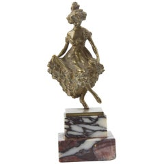 Carl Kauba Bronze Figurine of a Dancing Lady, Vienna, circa 1900 Estate
