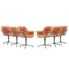1960s Cognac Leather Pair of Six Swivel Chairs by Jorgen Kastholm