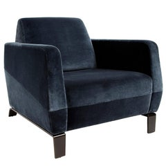 Klippen Lounge Armchair in Blue Holly Hunt Velvet with Bronze Patina Base