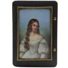 Antique Snuff Trinket Box Ebonized Wood Porcelain Miniature Portrait Estate Find