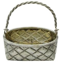 Antique Russian Silver Faux  Wicker Basket, circa 1896-1907