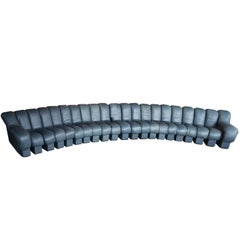 De Sede DS-600, Non-Stop Sofa, 21 Sections in Charcoal Blue Leather, 2 Available