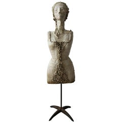 Antique 1920s, French Female Art Dress Form Mannequin on Steel Stand