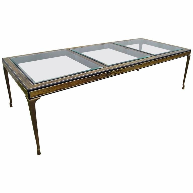 Acid-Etched Brass and Lacquer Dining Table by Bernhard Rohne for Mastercraft