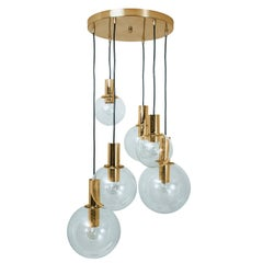 Brass Cascade with Five Handblown Globes by Glashütte Limburg